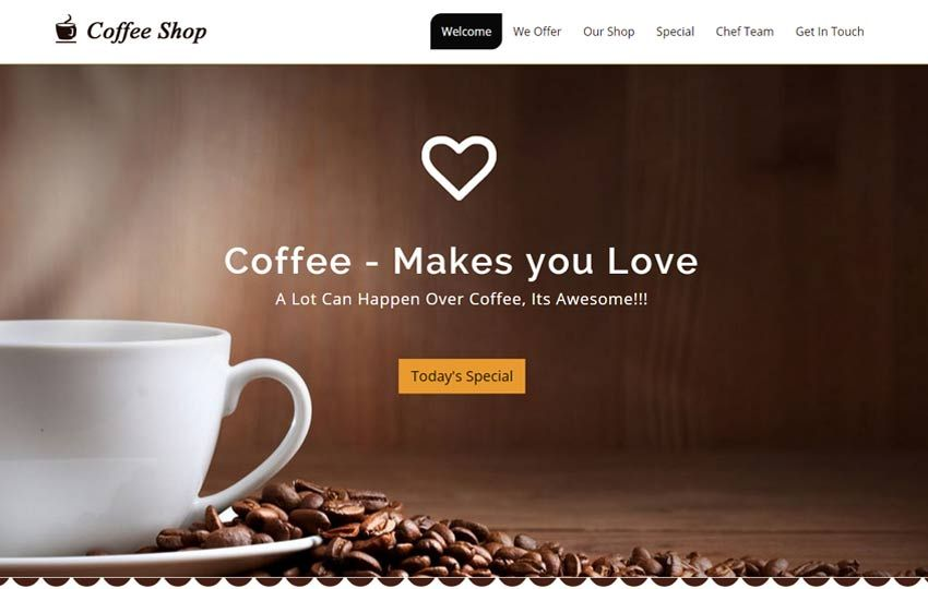 Coffee Shop Free Html5 Template With Images Coffee Websites