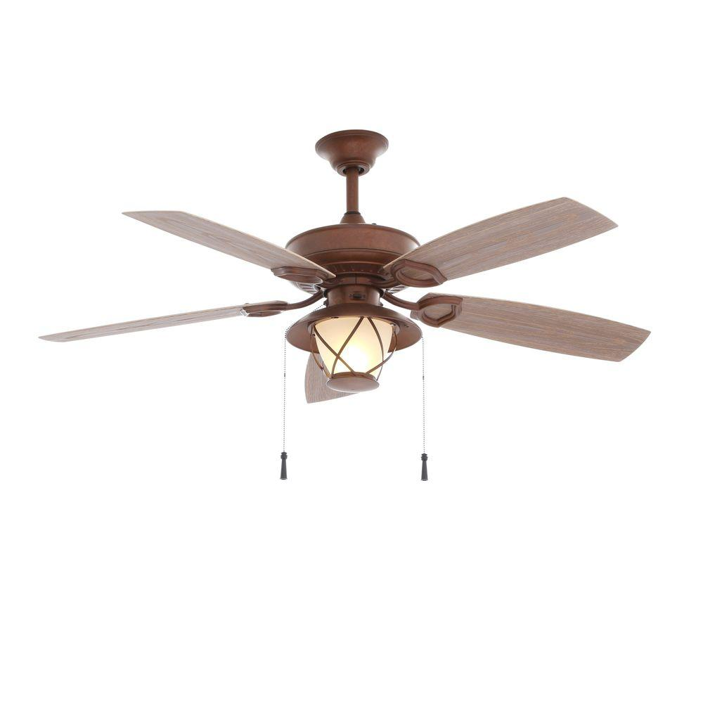 Hampton Bay Seaport 52 In Indoor Outdoor Natural Iron Ceiling Fan With Light Kit Al634 Ni Ceiling Fan With Light Copper Ceiling Fan Ceiling Fan