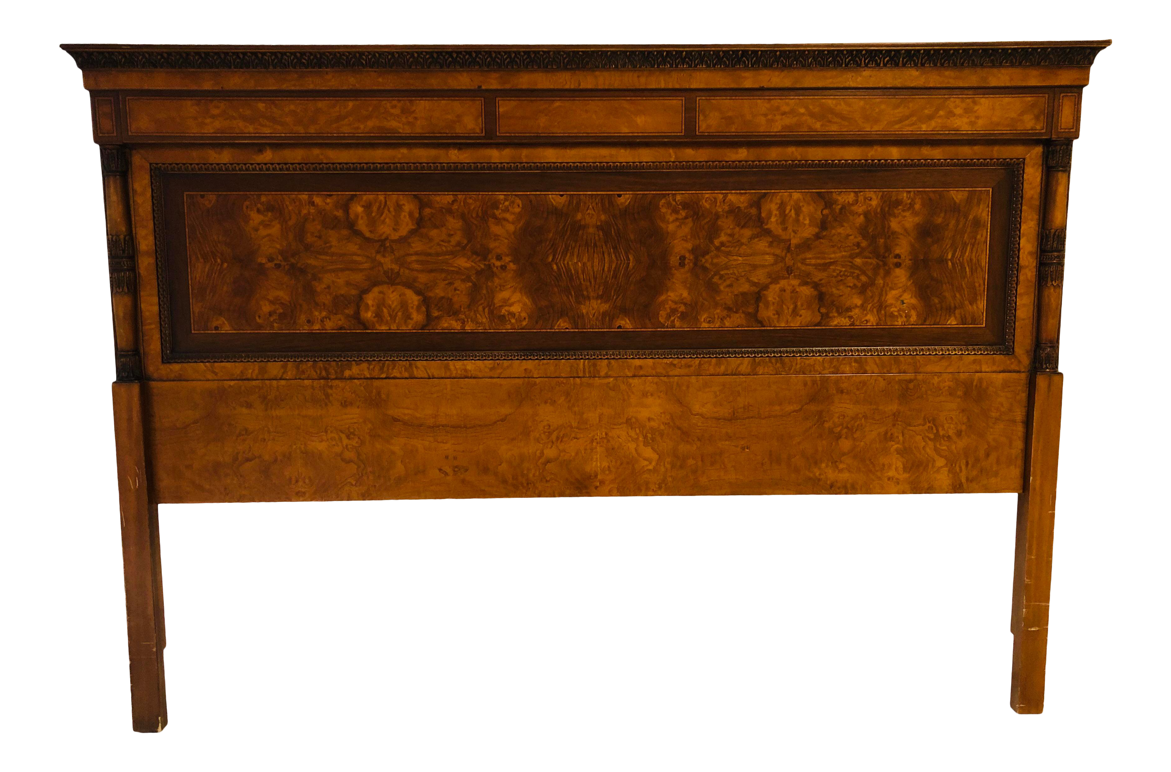 French Imperial Style Burled Carved King Headboard On Chairish Com