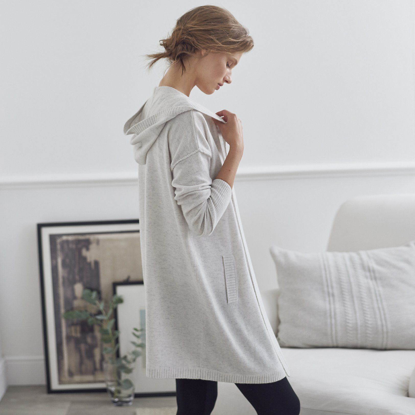 Long Hooded Pocket Cardigan | Sweaters & Cardigans | Clothing ...