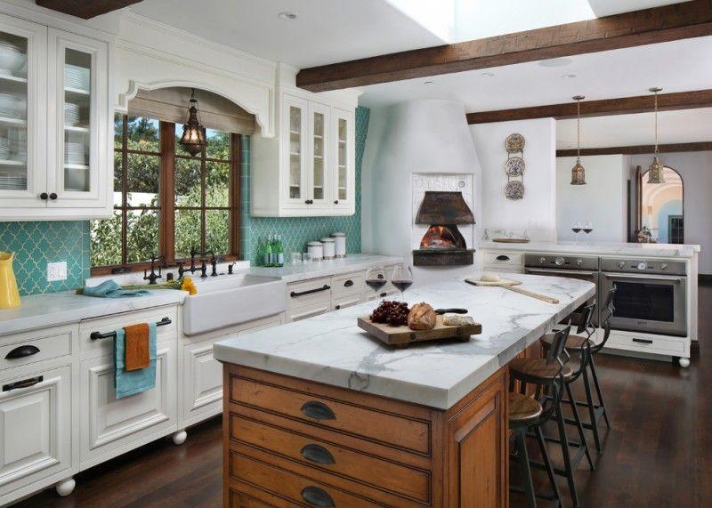 Spanish Tile Backsplash Ideas Part - 31: Spanish Tile Backsplash Thermador Electric Single Wall Oven Wooden Kitchen  Island With White Granite Traditional Barstools