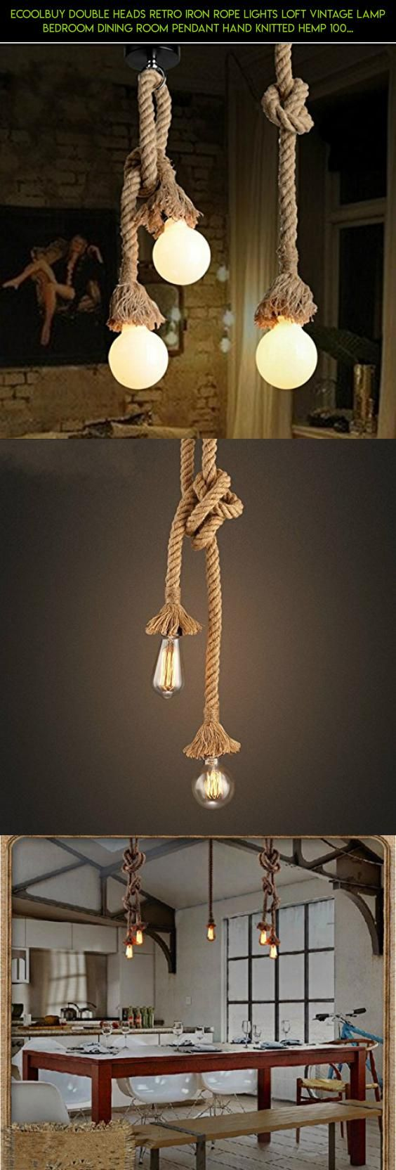 Ecoolbuy double heads retro iron rope lights loft vintage lamp ecoolbuy double heads retro iron rope lights loft vintage lamp bedroom dining room pendant hand knitted aloadofball Image collections