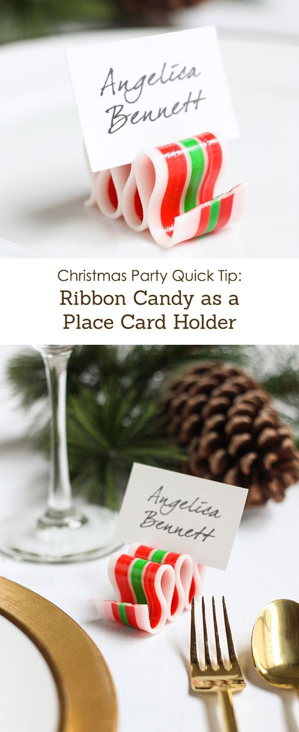 Christmas Party Quick Tip: Ribbon Candy as a Place Card Holder ...