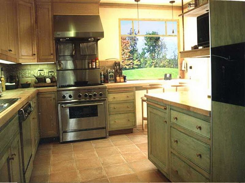light green kitchen white cabinets walls with brown article grouped