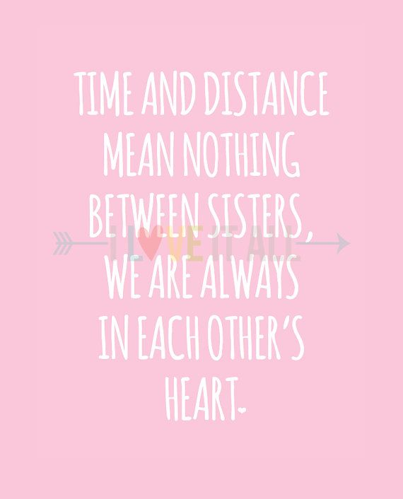 Sisters Art, Time and Distance, In Each Other's Heart, Love Quote