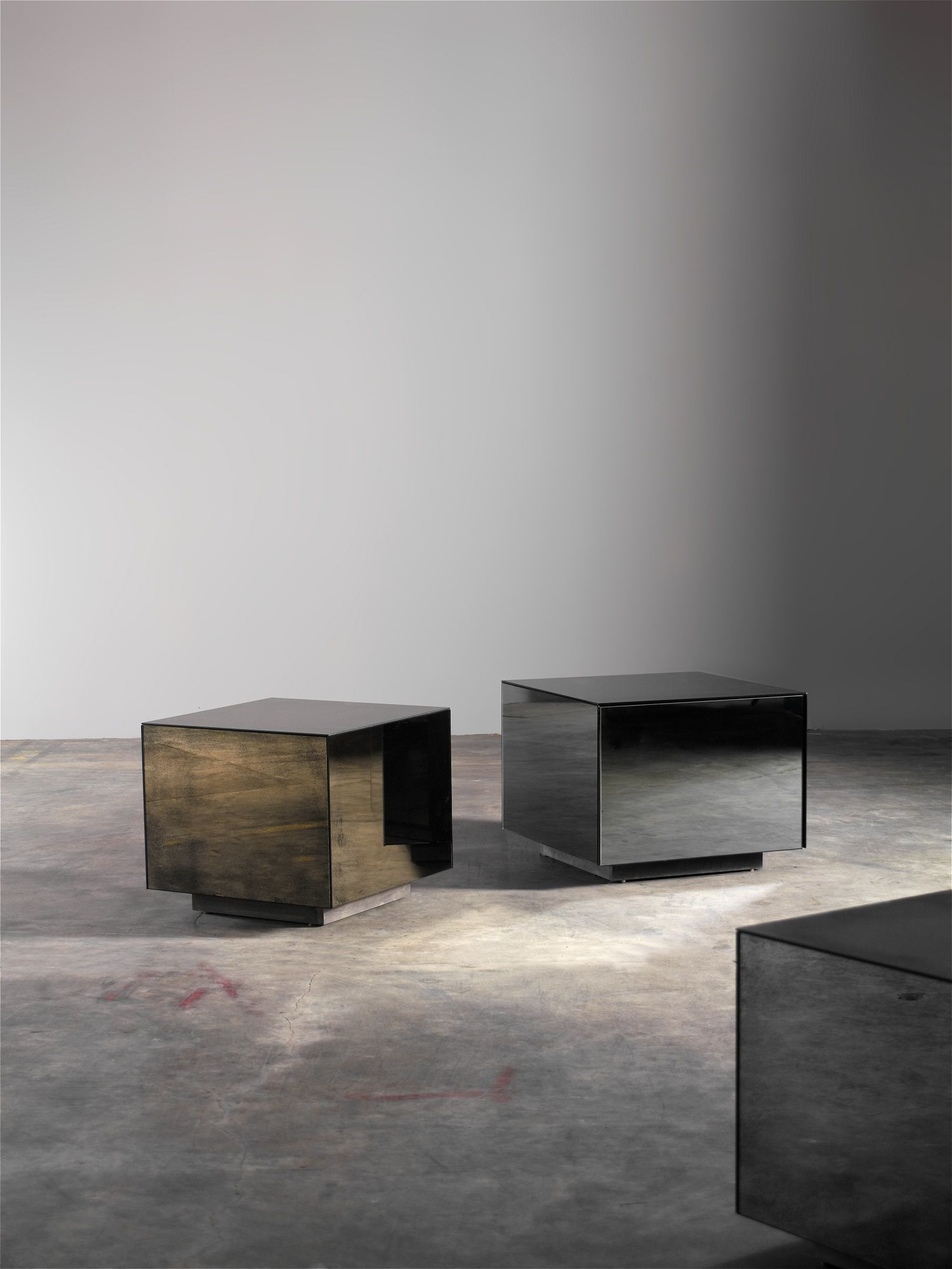 Side Tables : Cube Mirror Side Table