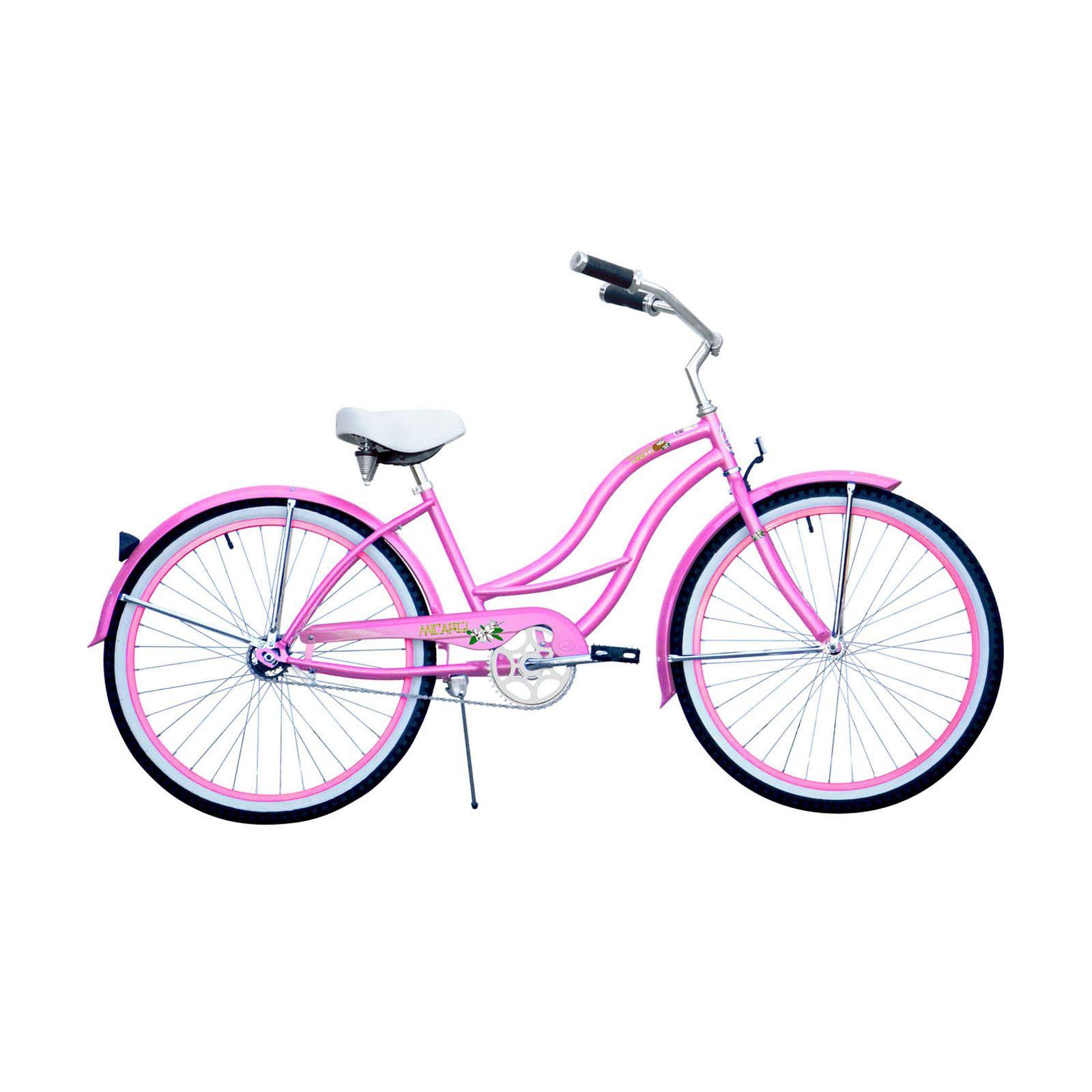 Micargi Tahiti 26-inch Pink with Pink Rim Beach Cruiser #pinkrims