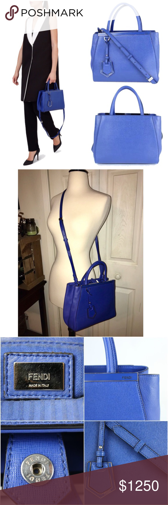 HP✨Authentic Fendi Vitello Elite Petite 2jours Bag Timeless tote, crafted  of two different calfskin leathers in lmtd ed. neon blue. 62be475484