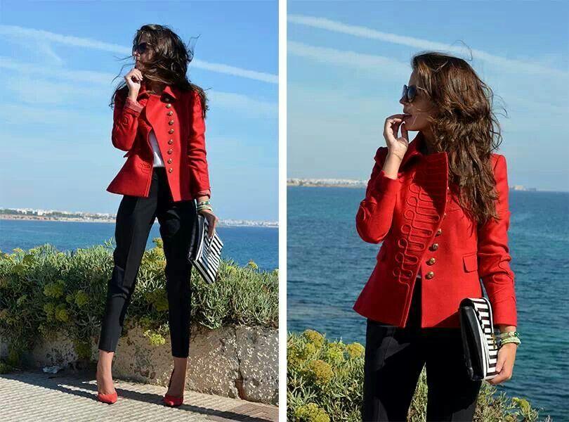 De Estilo Militar Chaqueta Rojos Moda Pinterest Roja Zapatos faxTwq1P5