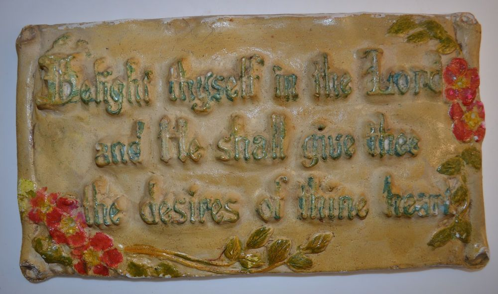 1940's Chalkware Christian Wall Plaque Bible Verse Delight Thyself in the Lord