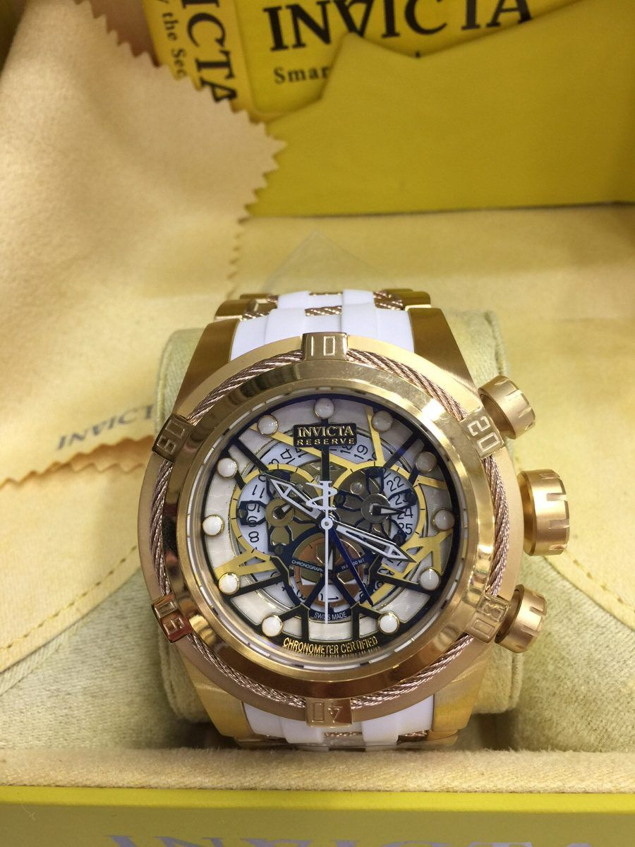 dd7ab644e15 relogio invicta bolt zeus skeleton dourado branco cx manual ...