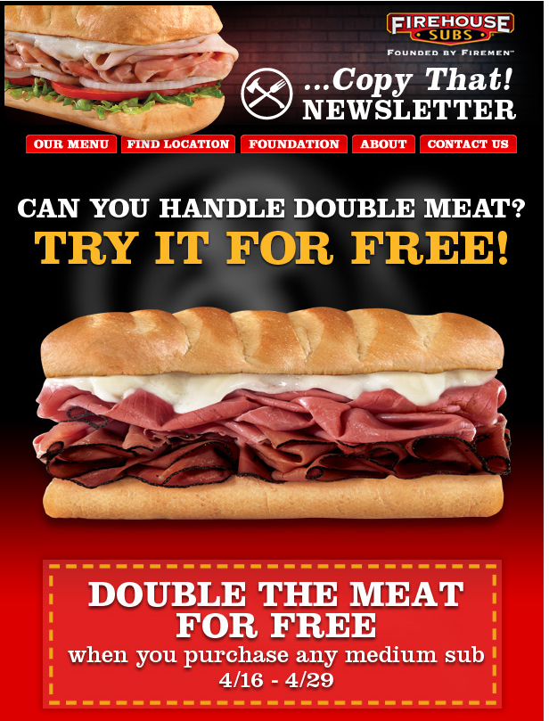 graphic relating to Firehouse Subs Printable Menu named Double the meat upon that sandwich no cost at Firehouse Subs