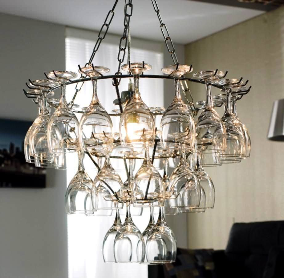Diy Wine Glass Rack Hanging Type From Old Light Fixture In Dining Room