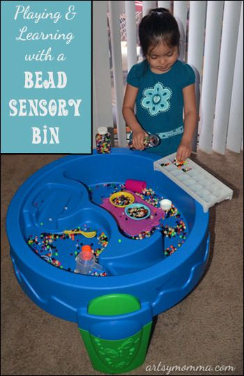 Playing & Learning with a Bead Sensory Bin