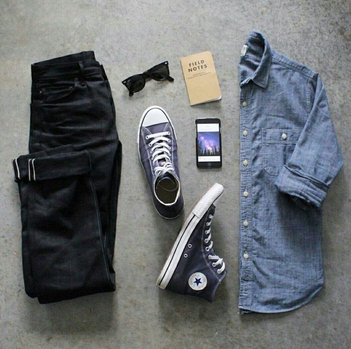 Outfit grid , Denim shirt \u0026 black jeans in 2019