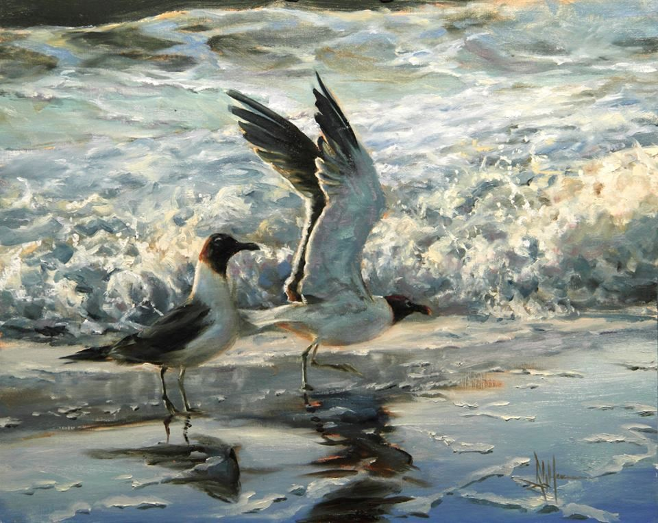 """""""Laughing Gulls in the Surf"""", 16x20, oil on linen, Ralph Grady James"""