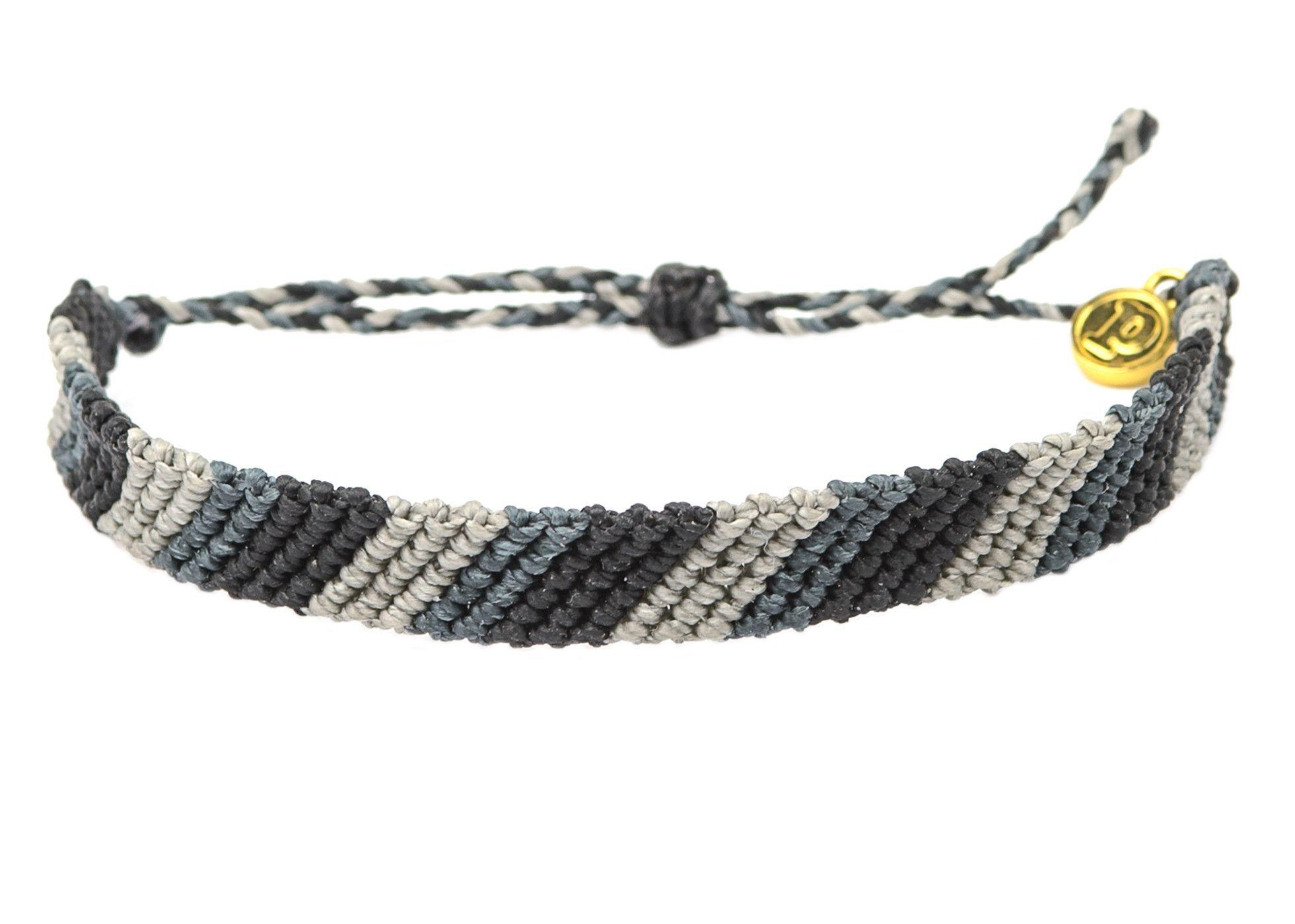 Flat Braided Grey Stripe | Pura Vida Bracelets