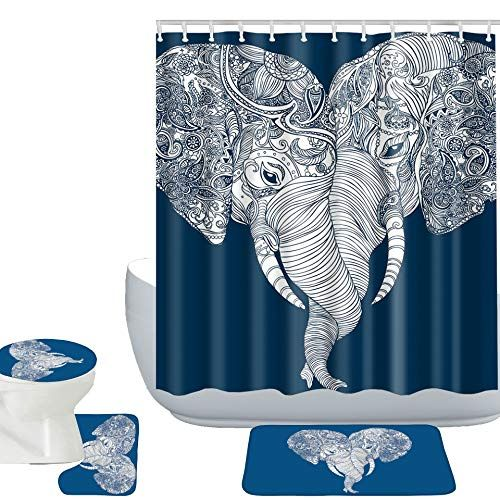 Amagical Elephants Decor 16 Piece Bathroom Mat Set Shower Curtain