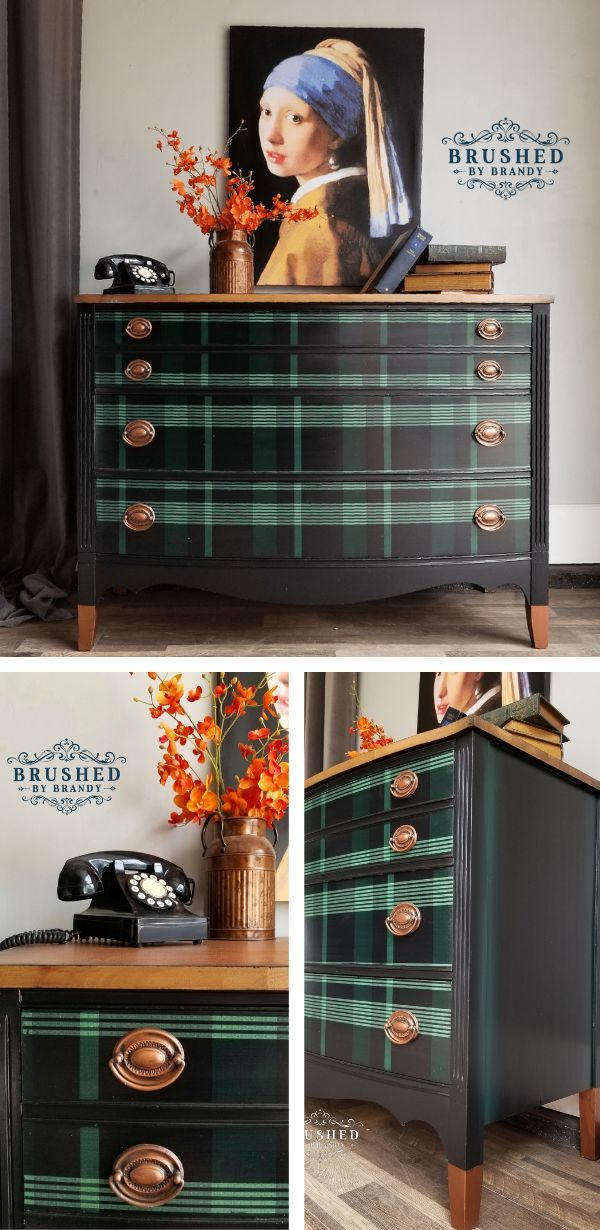 I had a clear vision for this piece. This 3 drawer solid mahogany chests was saying vintage, victorian smoking room to me. I used a unique paper application and Dixie Belle Paint to give this chest the look I was imagining.#brushedbybrandy #furniturepaintingtutorials | Plaid Furniture | How to Paint Furniture | DIY Furniture Painting with Chalk Paint | How to Paint Drawer Pulls | Easy Paper Application for Furniture | Painting Furniture start to finish | Painting Furniture Ideas | Furniture Flip