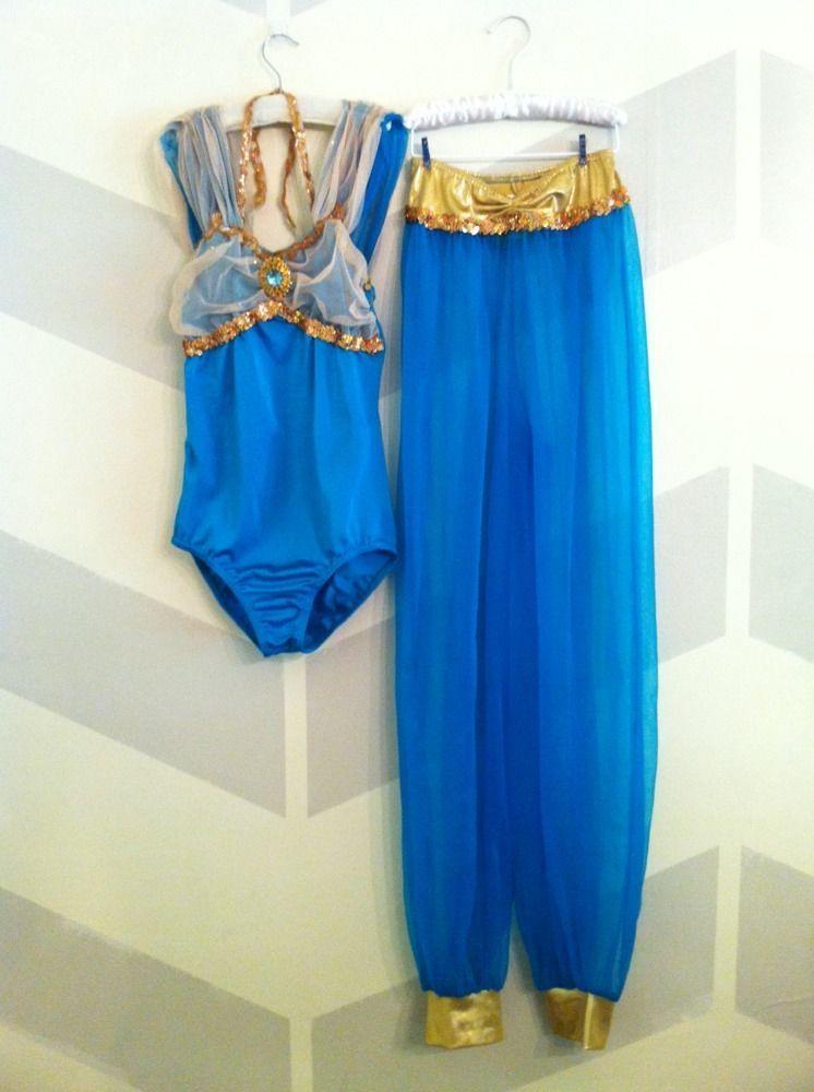 Womens Princess Jasmine Style Turquoise Arabian Costume