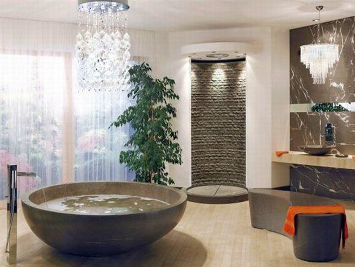 Photo Gallery Website Great Circular Bathtub Feats Shower Without Door Design And Cool Bathroom Chandelier Idea Amazing Bath Feel Along with Cool Bathroom Ideas Bathroom Design