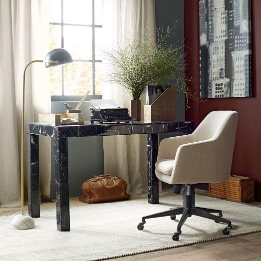 Parsons Desk Black Marble Decoupage West Elm Modern Home