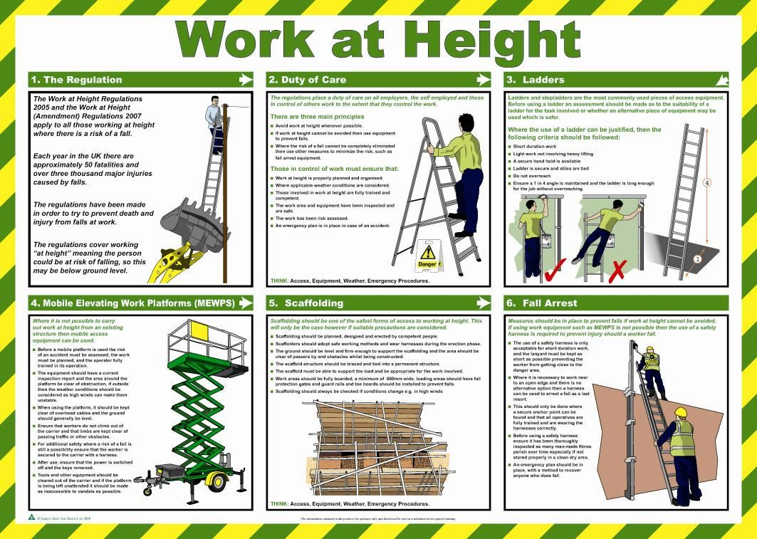 work at height health and safety poster safety services