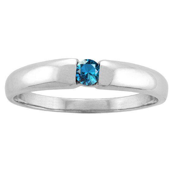 10k White Gold Bezel-set Round-cut Birthstone Ring (Size 6.0 Feb Amethyst), Women's, Purple