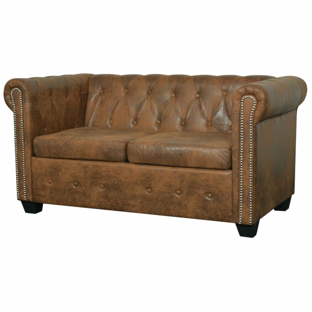 Chesterfield Dvivietė Sofa Dirbtinė Oda Ruda Chesterfield Sofa Home Decor