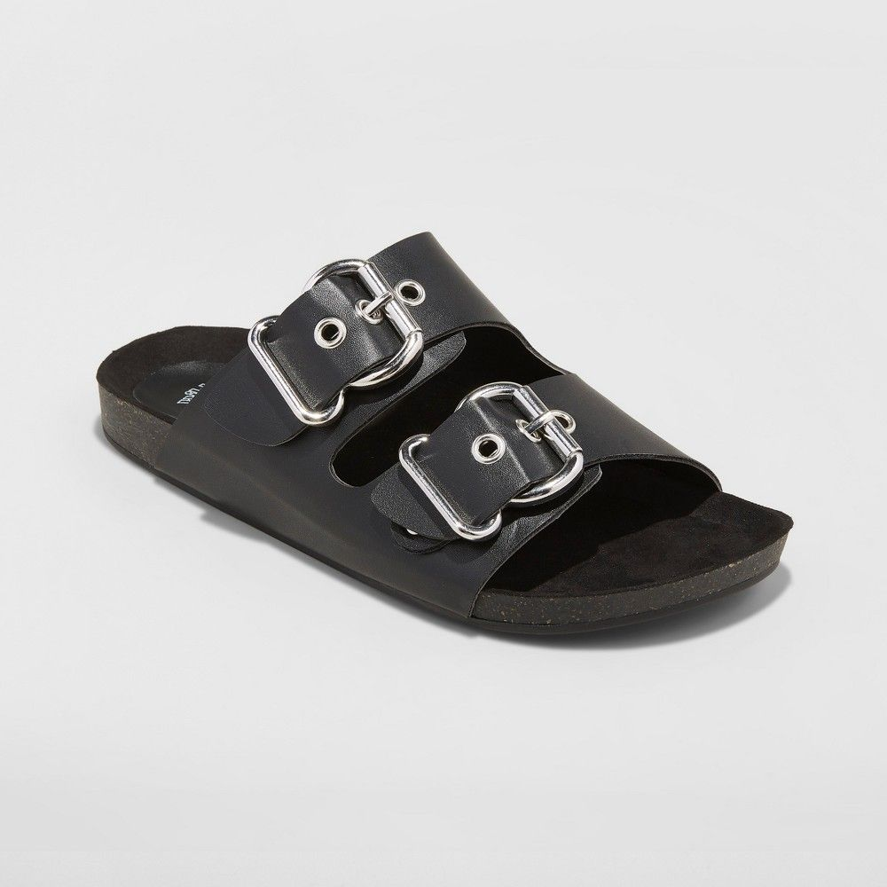 5bf2bdfb90dc Two-band buckle sandals with wide monk straps and silver buckle hardware.  Open-toe design and slip-on style. Made with faux-leather uppers and rubber  soles ...