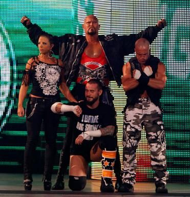 Staright Edge Society 2: Back L-R Serena/Luke Gallows/Joey Mercury Front: CM Punk