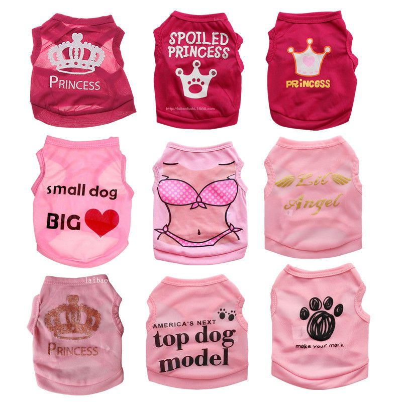 Cute Teacup Dog Clothes Girl Dog T Shirt Pet Puppy Vest For