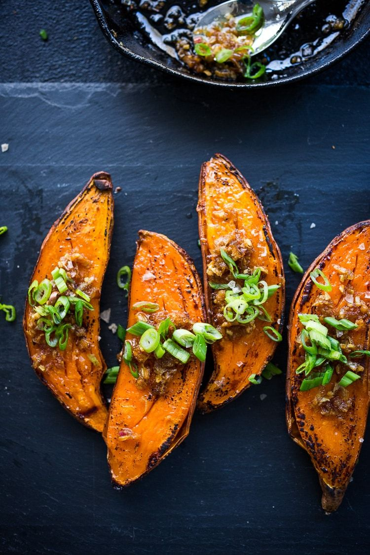 Kyoto Style Sweet Potatoes With Miso Ginger And Scallions Recipe Roasted Sweet Potatoes Roasted Yams Ginger Recipes