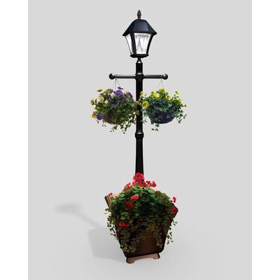 Gama Sonic Baytown Black Solar Lamp Post Planter