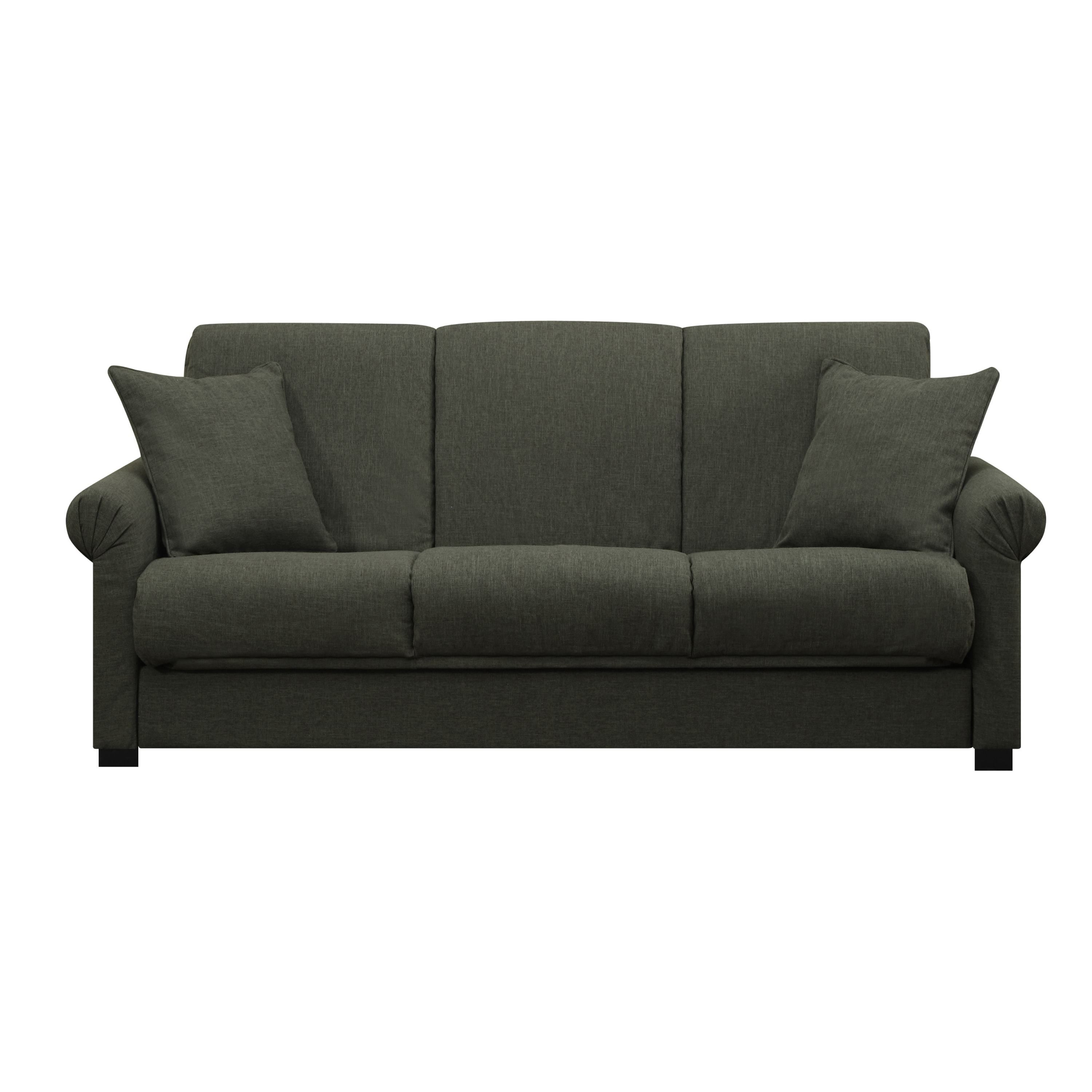 Handy Living Rio Convert A Couch Basil Green Linen Futon Sofa  ~ Convert A Couch And Sofa Bed