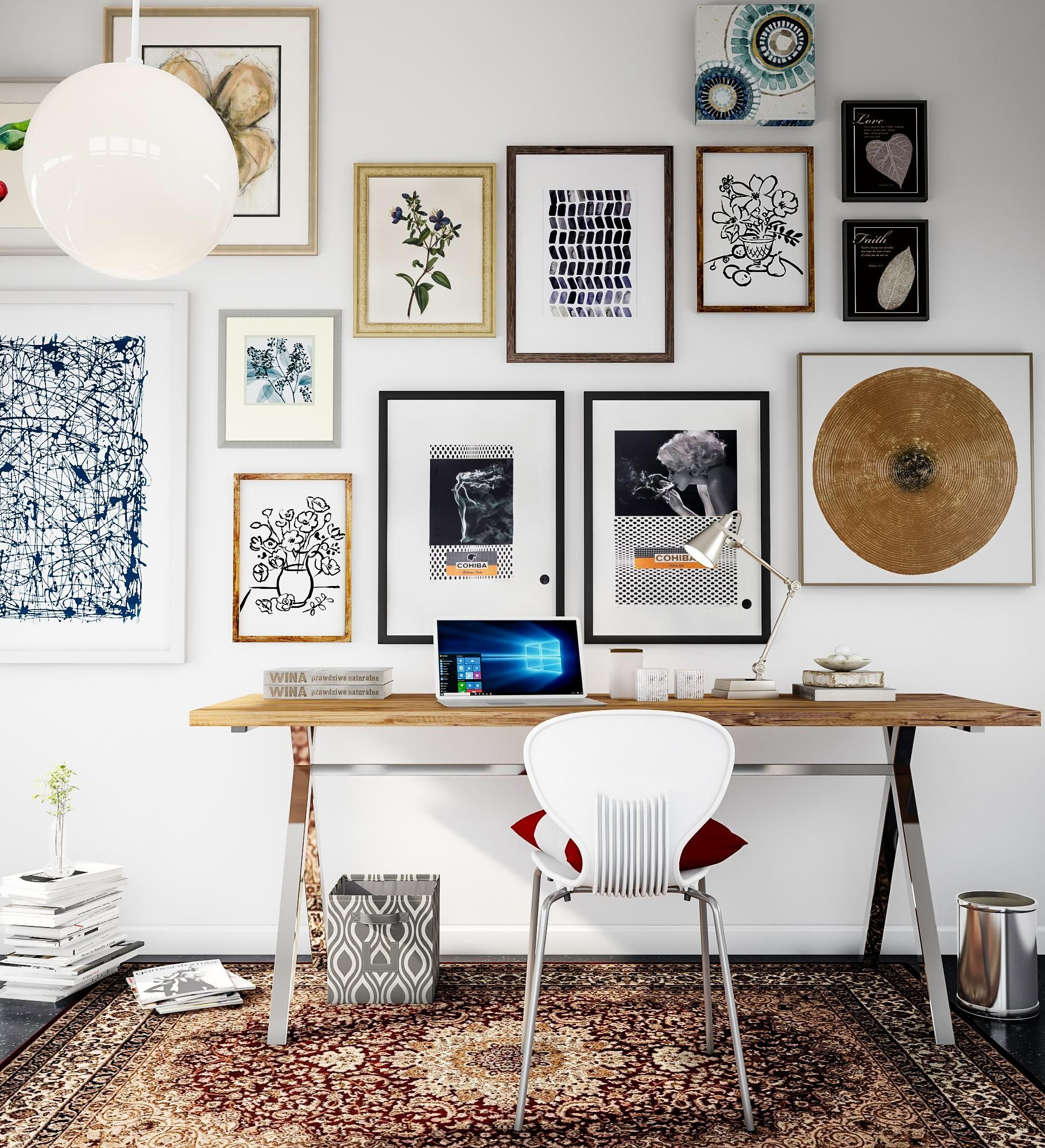 An Art Gallery In Your Home Office Sets The