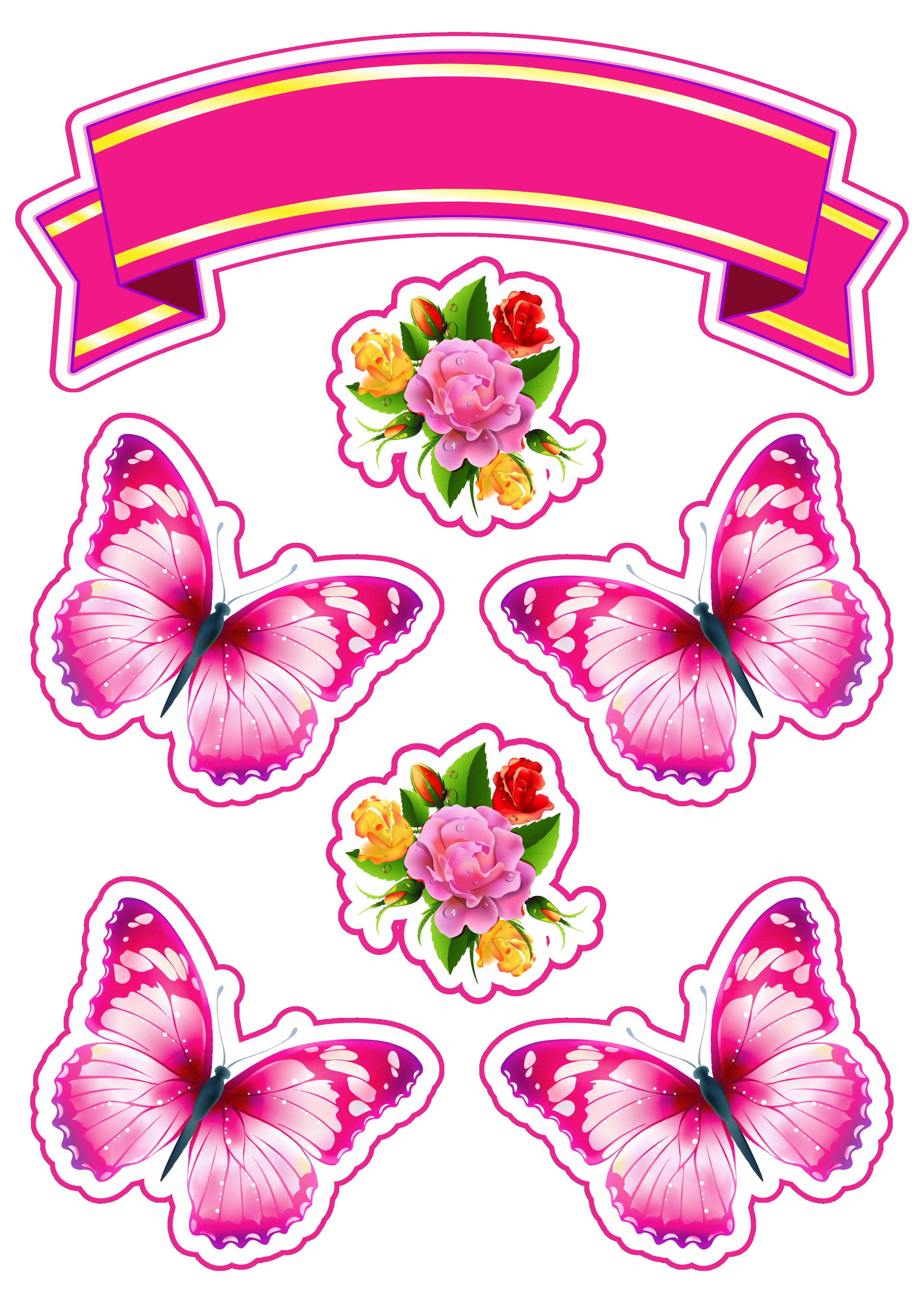 Lindo Topo De Bolo Com Borboletas E Rosas Para Decoração