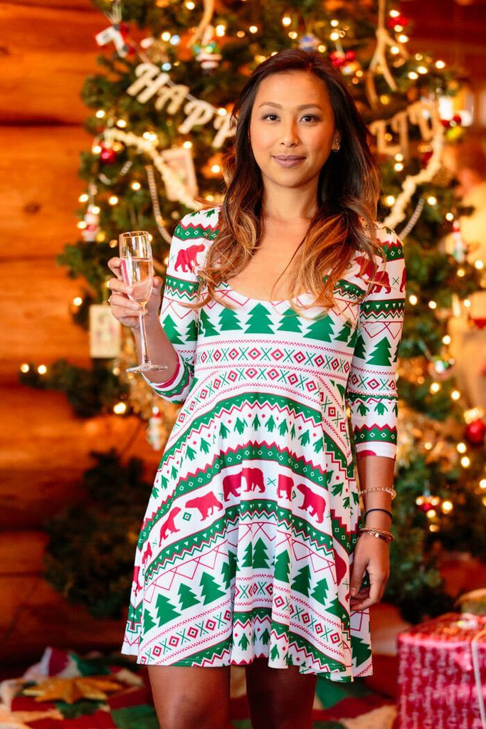 64058df6df227 Women s Long Sleeve Fair Isle Green and Red Christmas Dress