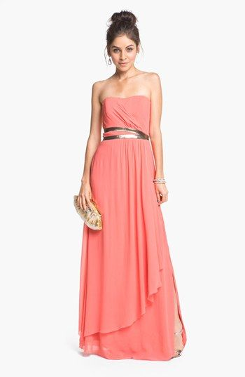 Nicole miller strapless georgette gown love the coral for Nicole miller wedding dresses nordstrom