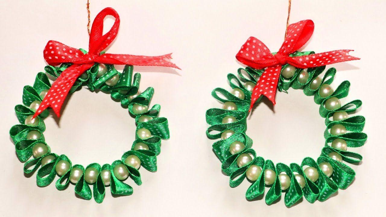 DIY Christmas Ornaments Ribbon & Pearl Wreath