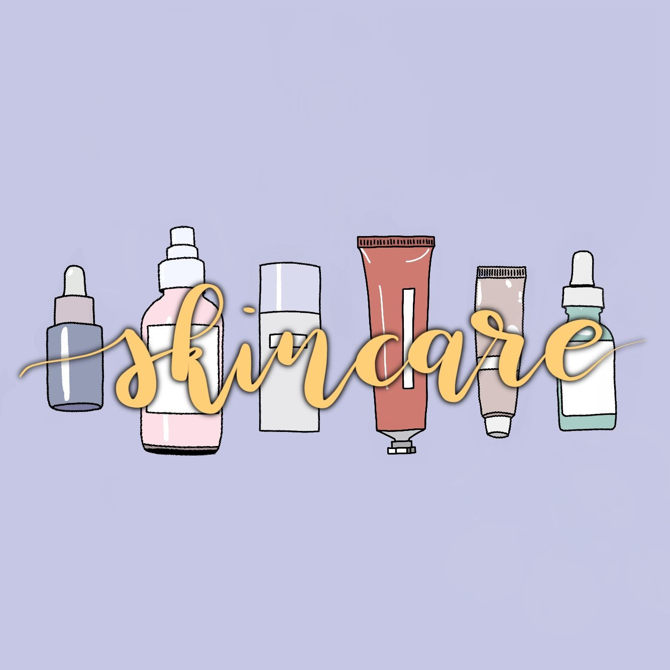 Skincare Doodle In 2020 Graphic Wall Art Skincare Inspiration Skincare Logo