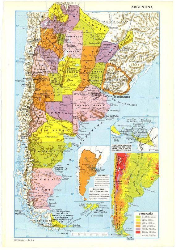 Map of Argentina 1950s Maps Pinterest Vintage maps Argentina