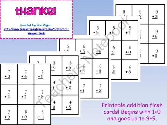 Printable Math Flash Cards Complete Set Includes Addition