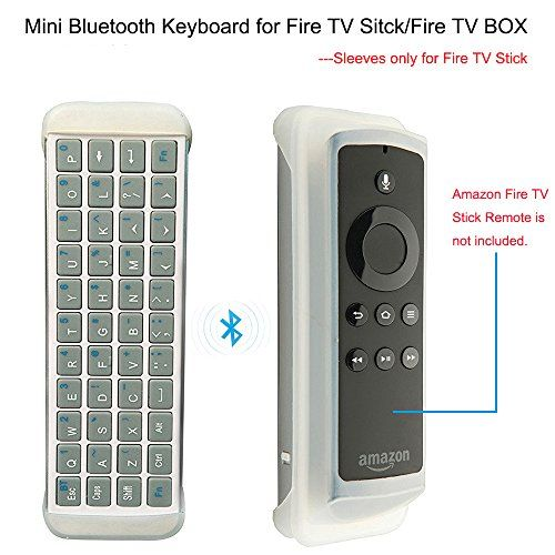 awesome Mini Bluetooth Keyboard for Amazon Fire TV Stick, Greatever Wireless QWERTY Keyboard for Fire TV Stick/Fire TV Box, Also for Other Bluetooth Enabled Devices, Case Sleeve for Fire TV Stick Remote