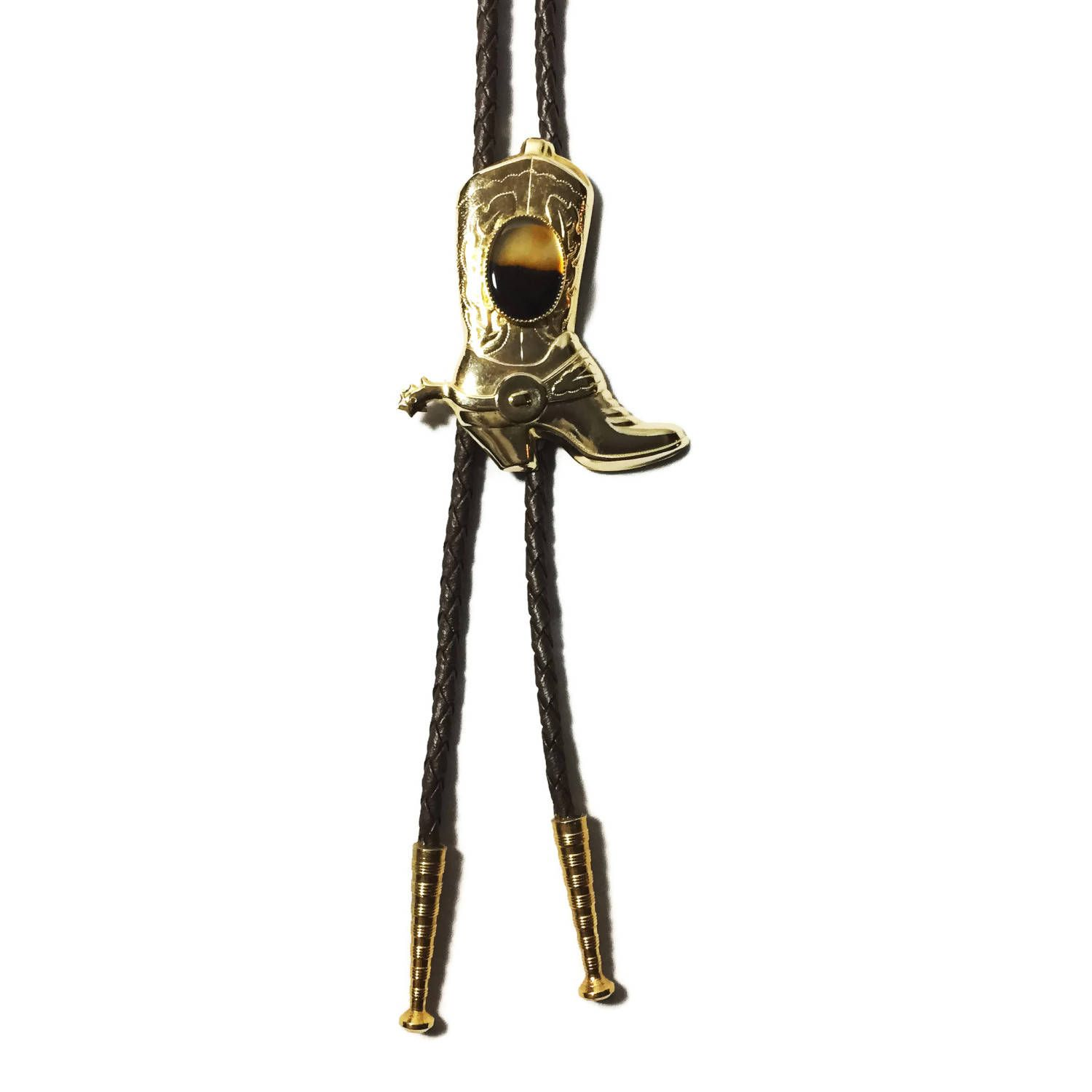 80s Cowboy Boot Bolo Tie, vintage Bolo ties, leather bolo tie, gold ...