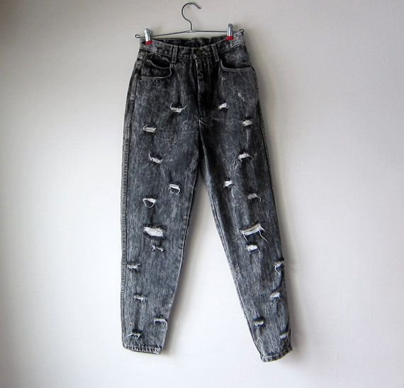Black Acid Washed, Ripped & Frayed Distressed High-Waisted Jeans ...