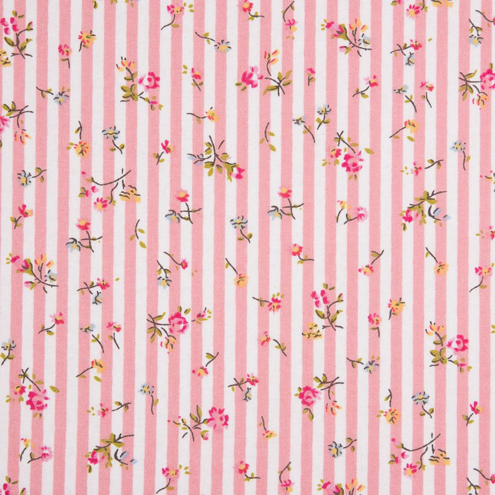 Pink/White Striped Floral Dense Combed Cotton Poplin