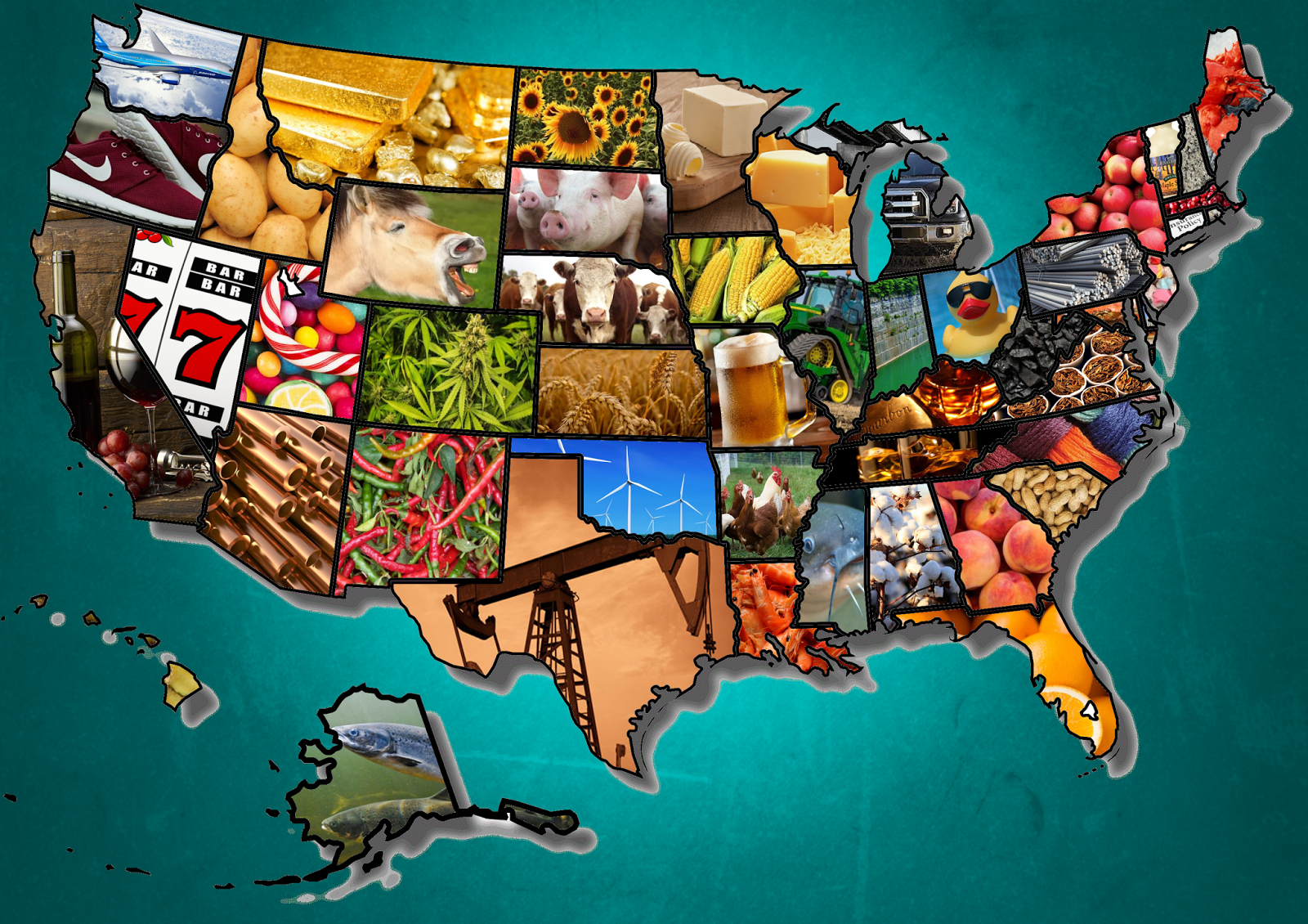 Most Iconic Product in Each U.S. State | United States | U.S. States on virginia united states map, cancer statistics 2013 united states map, united states graphic map, united states economy map, product of the usa, united states agriculture map,