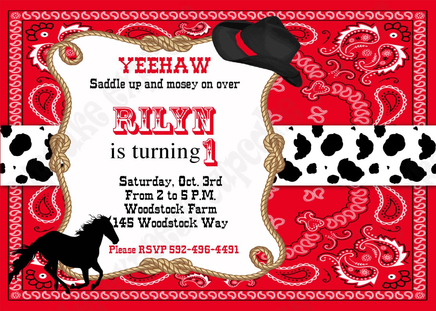 diy cowboy birthday party printable huge deluxe package black red horse boots western by cupcake express - Cowboy Party Invitations