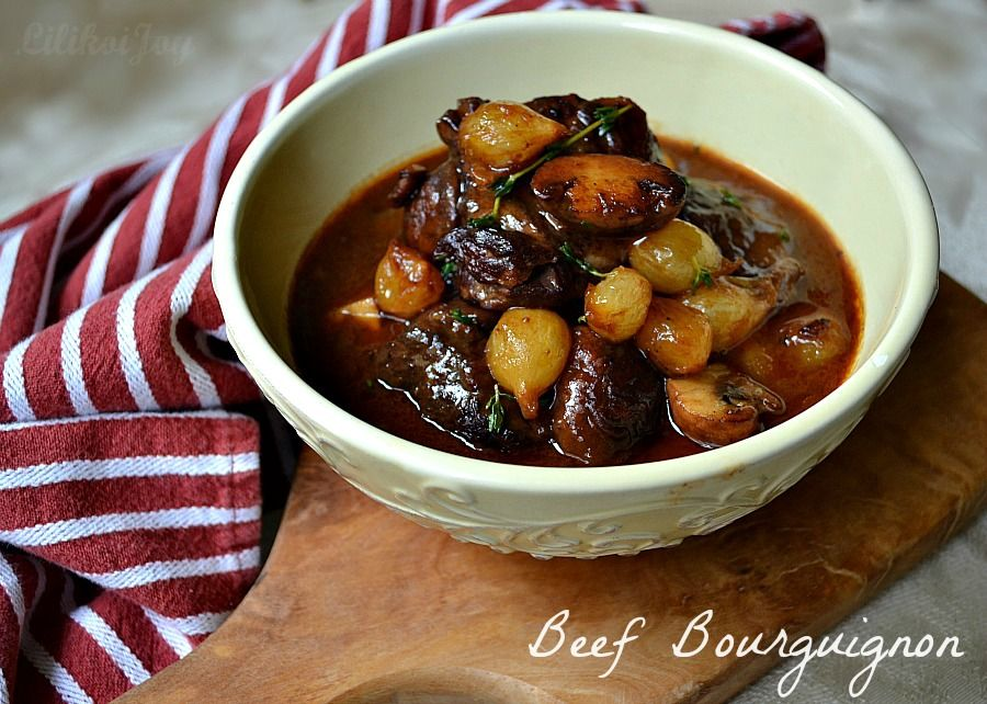Julia Child S Beef Stew In Red Wine With Bacon Onions And Mushrooms Beef Bourguignon Beef Recipes Recipes